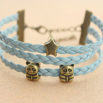 lovely animals beads bracelet--bear bracelet,antique bronze charm bracelet,blue braid leather bracelet,friendship gift,MORE COLRS