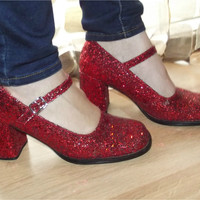 Vintage 90s Shoes | 1990s Red Glitter Mary Janes | Ruby Slippers | Red Sparkle High Heels | Dorothy Costume Pumps | Size 7.5 8