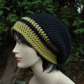 Black Slouch Beanie - Mens Slouchy Crochet Hat with Golden Green Trim - Oversized Cap - Chunky Hat