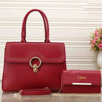 DCCKB62 Chloe Fashionable Personality Leather Crossbody Shoulder Bag Satchel Handbag Two Piece Red I-XS-PJ-BB