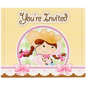 Pink Cowgirl Invitations, 8pk