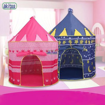 DCCKL3Z New Arrival Portable Blue Pink  Prince Folding Tent Kids Children Boy Castle Cubby Play House For Kids Best Gift