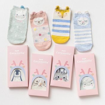 2017 Female 2 pairs/set Cotton ankle Socks cute cartoon animal Women low cut Short sock happy funny girls Invisible sox gift Box