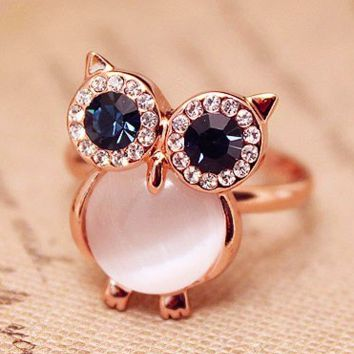 Exquisite Lovely Opal Owl Ring Gold With Blue Austrian Crystal