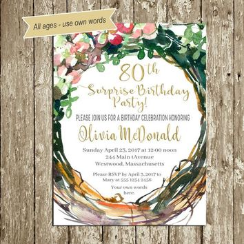 Floral Birthday Invitations for woman 70 Rustic Surprise Birthday Invitation 90th 80th Birthday invitations Ladies 60th Birthday PRINTABLE