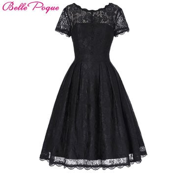Belle Poque 2017 Short Cap Sleeve Vintage Swing V-Back Lace Office Dress Casual Tunic 1950s Rockabilly Swing Summer Dresses
