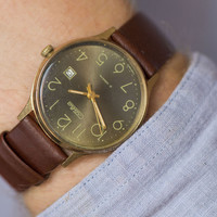 Gold plated men's watch Glory wristwatch olive brown face watch simple premium leather strap