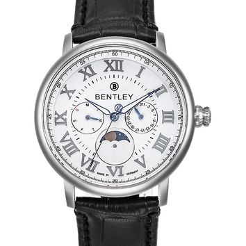 Bentley Denarium Quartz Moonphase Case White Dial Watch