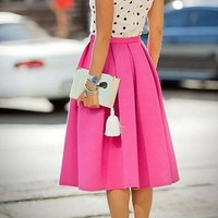 Santorini Midi Skirt - Hot Pink