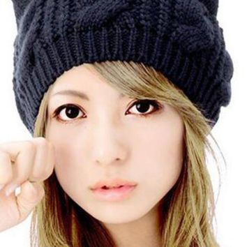 CREYUX5 WENDYWU Women Cute Kint Beanie Solid Black Cat Ears Hat Caps Lady Cable Headwear for Woman