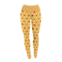 "Jane Smith ""Vintage Playground"" Yellow Red Yoga Leggings"