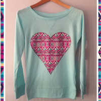 Long Sleeve-  Aztec Pink Heart