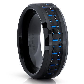 Black Tungsten Ring - Blue Carbon Fiber - Tungsten Wedding Band - 8mm