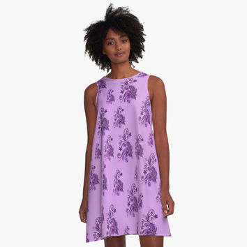 'Purple, pink, violet flowers, ornament, asymetric floral design' A-Line Dress by cool-shirts