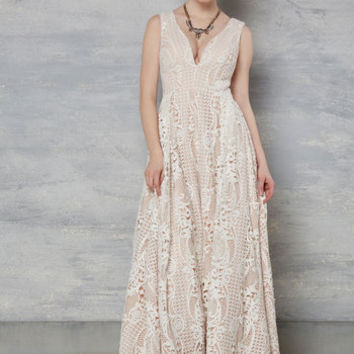 Right Here, Right Wow Maxi Dress in Ivory | Mod Retro Vintage Dresses | ModCloth.com
