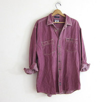 vintage purple dyed denim shirt. button down boyfriend shirt. oversized work shirt. pigment dyed button up shirt / size XL