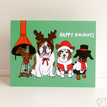 Vintage Doggies Holiday Greeting Card
