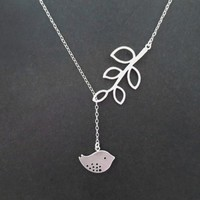 Sideways, Tree, Bird, Gold, Silver, Necklace
