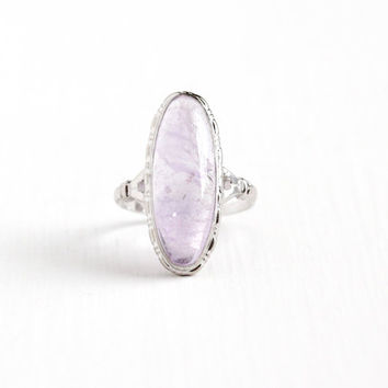 Vintage Art Deco Sterling Silver Amethyst Cabochon Ring - 1930s Size 8 Statement Light Purple Oval Gem Cabochon Uncas Statement Jewelry
