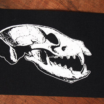 Occult patch - wolf skull patch, goth punk patch, pagan patches, witch patch black metal sew on patch, voodoo, wicca screen printed patch