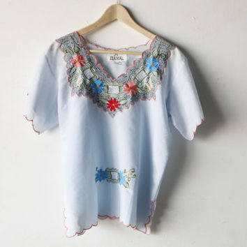 FLORAL lace femme embroidered SHEER blue SPRING summer top blouse