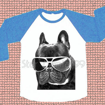 French Bulldog Glasses TShirt Dog TShirt Animal Tee Shirt Baseball Tee Blue Sleeve Shirt Long Sleeve Women T-Shirt Unisex T-Shirt Size S,M,L