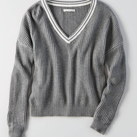 AEO Tipped Sweater, Heather Gray