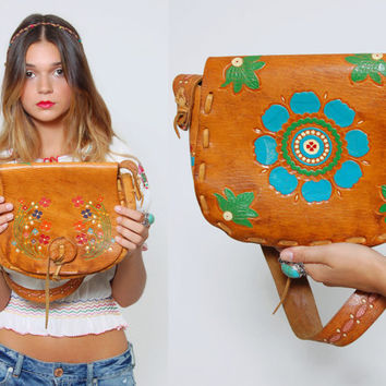 Vintage 70s Floral HAND TOOLED Leather Handbag Hippie PAINTED Flower Purse Artisan Boho Bag