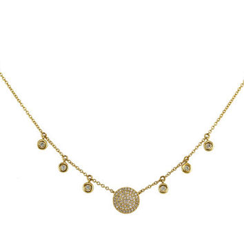 "0.24ct Pave Diamond in 14K Yellow Gold Disc Plate Charm Necklace - 18"" - CUSTOM MADE"