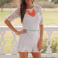 In Love With Lace Romper, Ivory