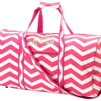 PINK Personalized Chevron Duffle Bag Overnight Bag FREE monogram