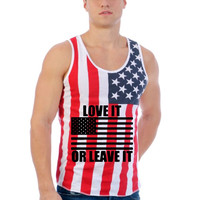 Love it or leave it USA flag shirt Men's Jersy Tanktop