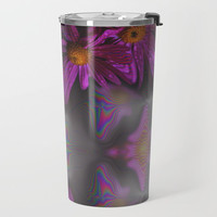 Purple Flower Travel Mug Metal - Coffee Travel Mug - Hot or Cold Travel Mug - 20oz Travel Mug -Made to Order