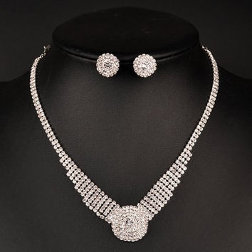 Silver Rhinestoned Floral Pendant Necklace and Earrings