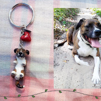 Custom Cute Dog Keychain -- Made to Order, Handmade Polymer Clay, Hand Painted, Pet Lover Gift, Animal Portrait Accessory, Pick Your Charm