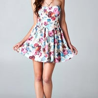 FLORAL PLEATED TUBE DRESS