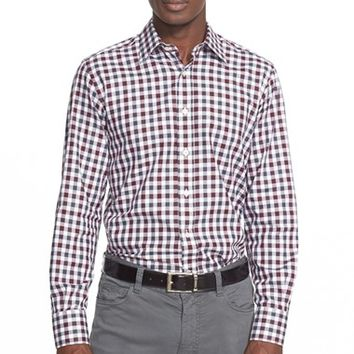 Men's Canali Regular Fit Gingham Sport Shirt,