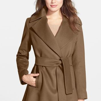 Petite Women's Trina Turk 'Beverly' Wool & Cashmere Wrap Coat