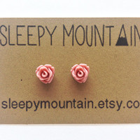 Rose Earrings - Tiny Flower Stud Earrings