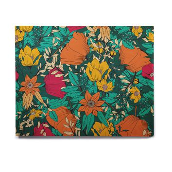 "Bluelela ""Bohemian Botanical Pattern 001"" Green Orange Floral Pattern Vector Illustration Birchwood Wall Art"