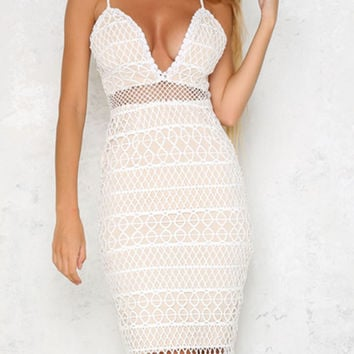 White Plunge Cutwork Lace Cami Bodycon Dress