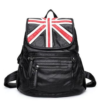 Leisure British Style Soft PU Leather Double Zippers School Black Travel Backpack