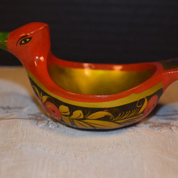 Russian Khokhloma Lacquer Art Bird Bowl Vintage Russian Folk Art Paper Mache Trinket Small Bird Bowl Made in USSR Folk Art Collectible
