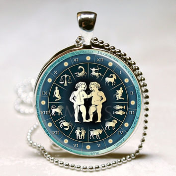 Gemini Necklace Zodiac Jewelry Astrological Sign Twins May June Birthdays Astrology Art Pendant with Ball Chain Included (ITEM B113)