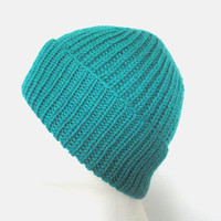 Jade Green Wool Hat, Hand Knit, Watch Cap, Ribbed Beanie Toque, Warm Winter, Men Women Teens