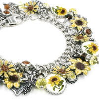 Sunflower Jewelry, Sunflower Bracelet