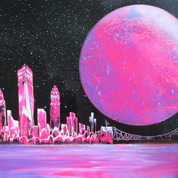 pink new york skyline wall art,pink new york poster,girls room decor,galaxy wall art,spray paint art,space decor,gift for her,pink decor art