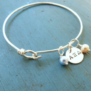 Sorority Bangle Graduation Gift Personalized Bracelet College Gift Big and Little Gift Greek Letter Jewelry Delta Zeta Alpha Epsilon Delta