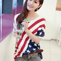 Oversize USA Stars and the Stripes Flag Print T-shirt A1