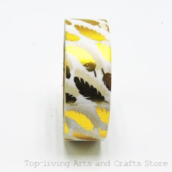 Feather Foil Washi Tape Set Japanese Stationery Scrapbooking Decorative Tapes Adhesive Tape Kawai  Adesiva Decorativa